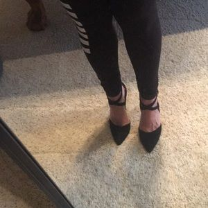 New Black Criss Cross Heeks